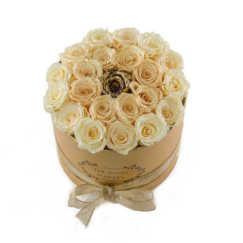 Medium Round Gold Box White Gold Roses