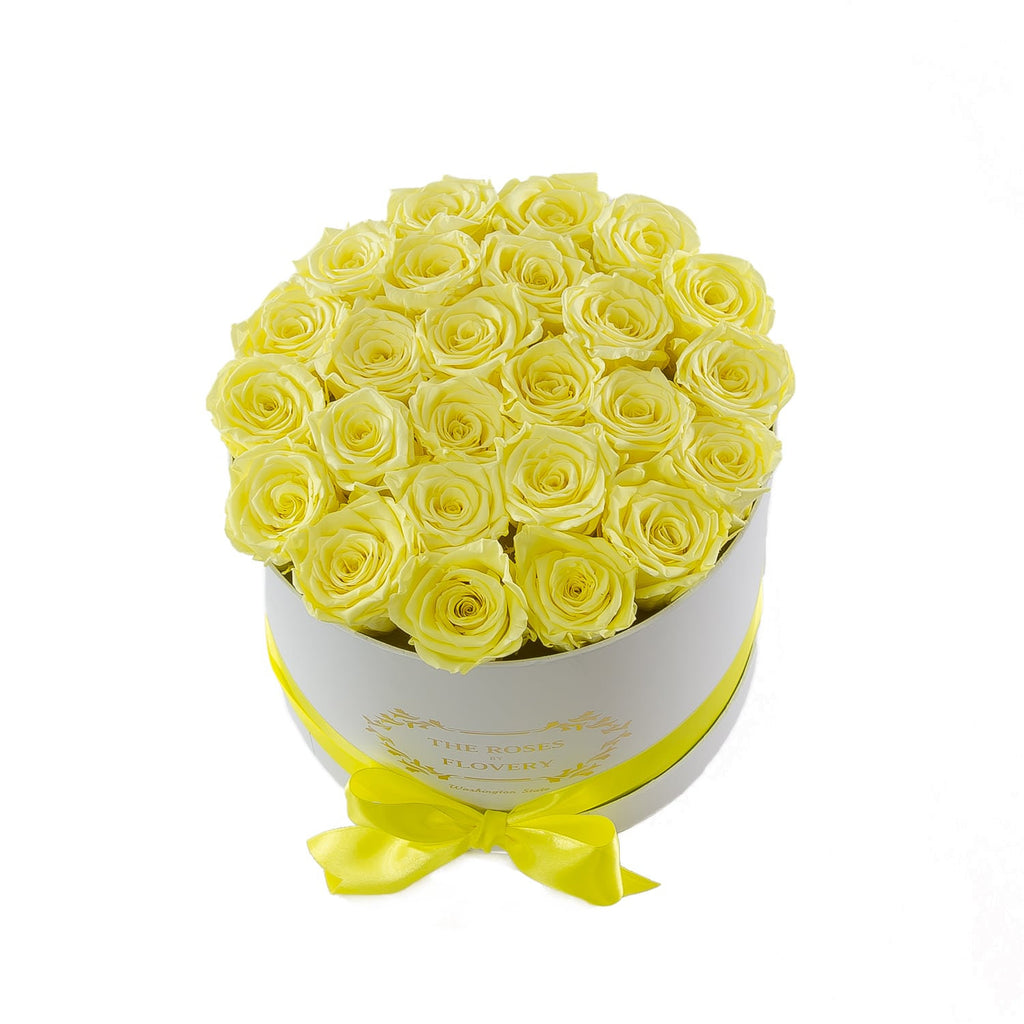 Medium Round White Box Yellow Roses
