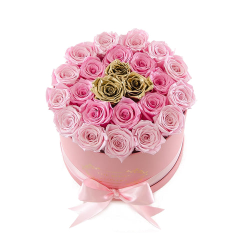 Medium Round Pink Box Dark Light Pink Gold Roses
