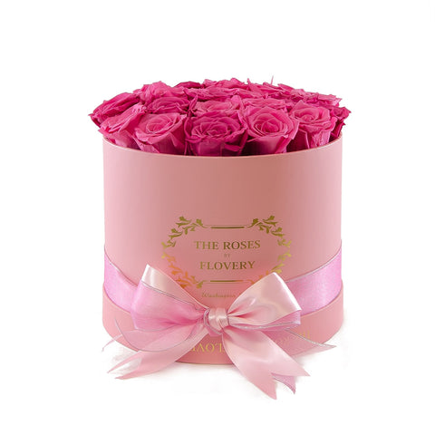 Medium Round Pink Box Pink Roses - Flovery