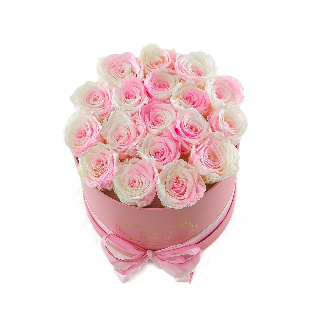 Medium Round Pink Box White Roses - Flovery