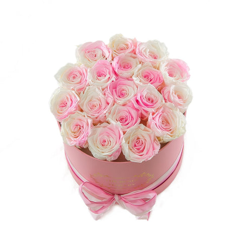 Medium Round Pink Box White Roses
