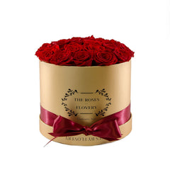 Medium Round Gold Box Red Roses - Flovery