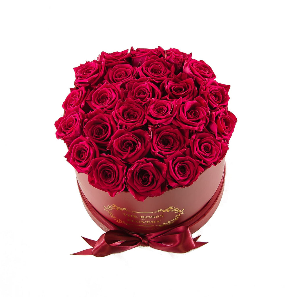 Medium Round Red Box Red Roses