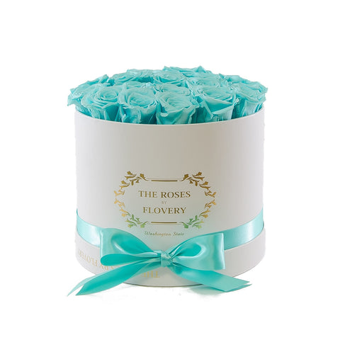 Medium Round White Box Blue Roses