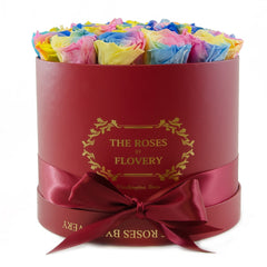 Round Red Box Rainbow Preserved Roses - Flovery
