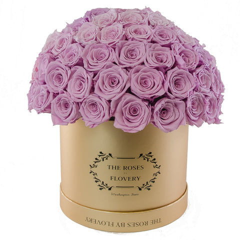 Dome 120 Purple Roses Gold Box - Flovery