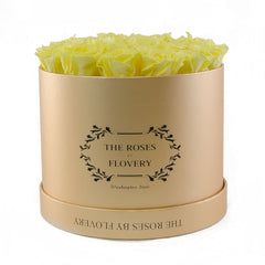 Medium Round Gold Box Yellow Roses - Flovery