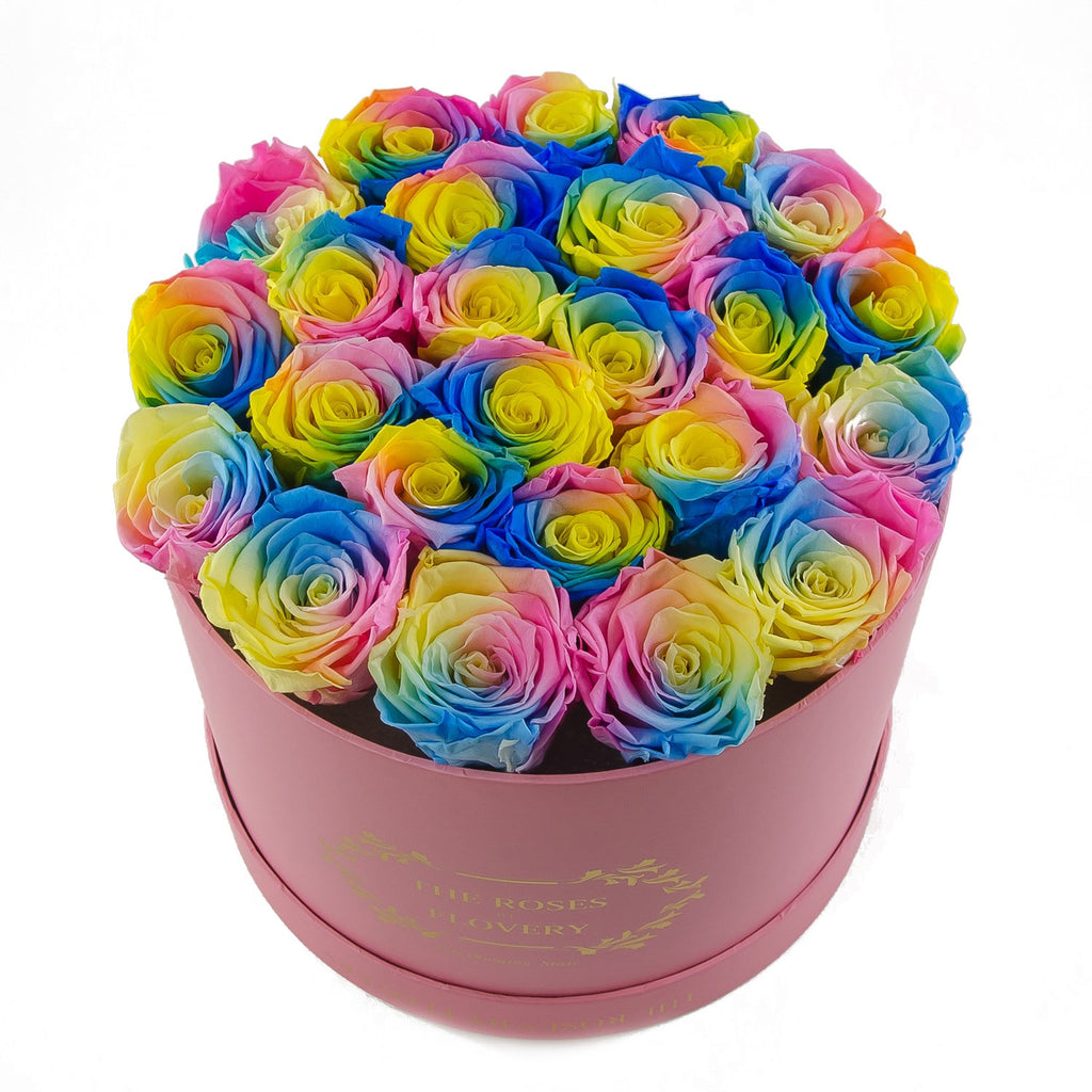 Medium Round Pink Box Rainbow Roses