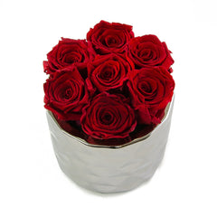 Red Preserved Roses Metallic Round Vase