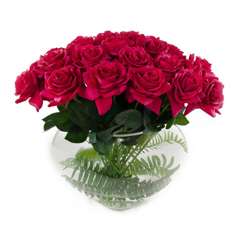 2 Dozens Real Touch Red Roses Half Moon
