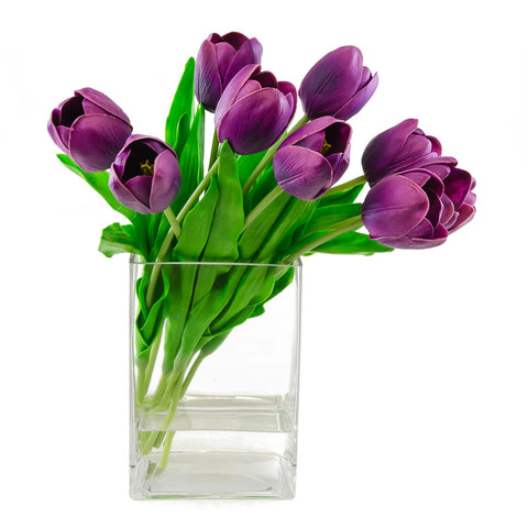 Real Touch Purple Tulip Arrangement Square