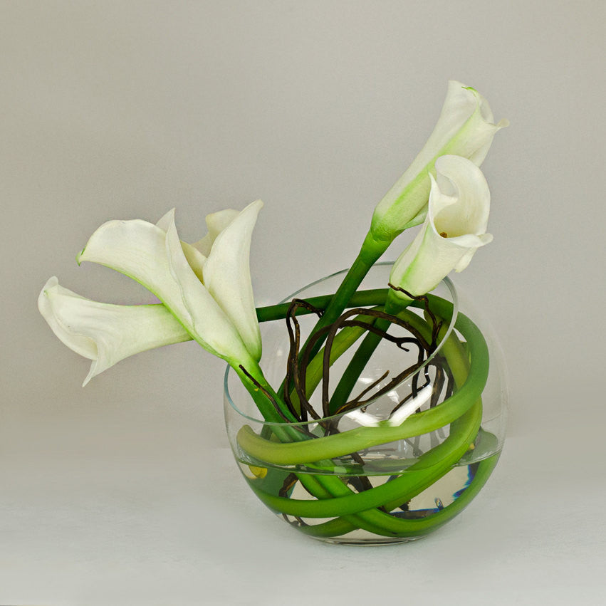 Real Touch White Calla Lily Round Glass Arrangement