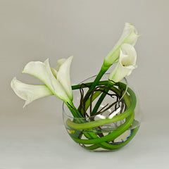 Real Touch White Calla Lily Round Glass Arrangement - Flovery