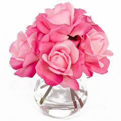 Real Touch Pink Roses Oval Glass Arrangement