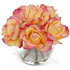 Real Touch Yellow Tipped Pink Roses Round Glass Arrangement