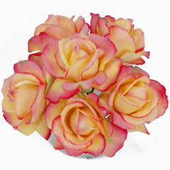 Real Touch Yellow Tipped Pink Roses Round Glass Arrangement - Flovery