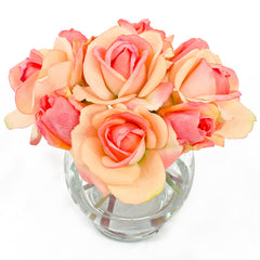 Real Touch Orange Roses and Buds Round Glass Arrangement