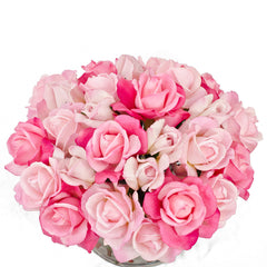 Real Touch Roses with Rose Buds Cylinder Arrangement - Flovery