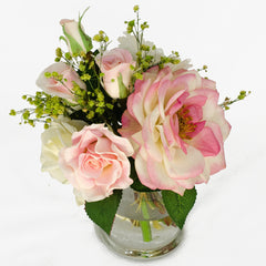 White Pink Roses and Daises Cylinder Glass Arrangement