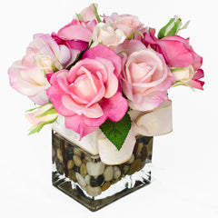 Real Touch Baby Pink Fuchsia Bud Roses Tall Arrangement