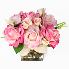 Real Touch Baby Pink Fuchsia Bud Roses Tall Glass Arrangement