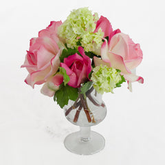 Real Touch Pink Rose Fuchsia Bud Glass Urn Vase
