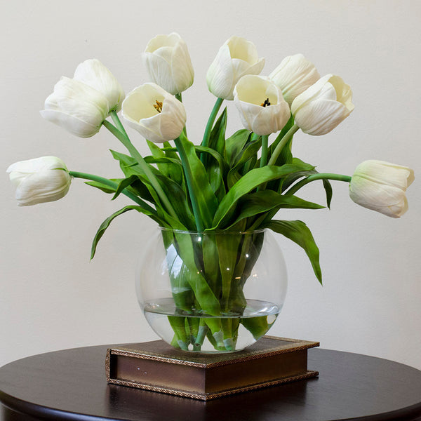 Real Touch White Tulips Arrangement Flovery