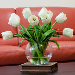 Real Touch White Tulips Arrangement