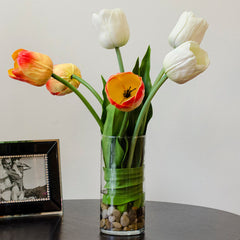 Large Real Touch Yellow Orange White Tulip Arrangement