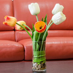 Large Real Touch Yellow Orange White Tulip Arrangement - Flovery