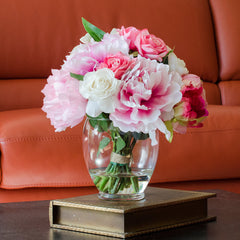 Real Touch Rose Cabbage Peony Pink Oriental Lily Arrangement