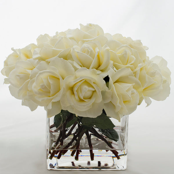 White Real Touch Rose Square Glass Arrangement – Flovery
