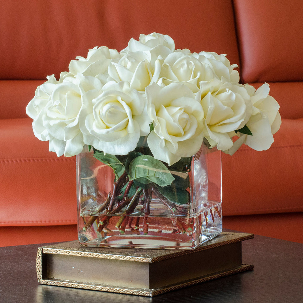 White Real Touch Rose Square Glass Arrangement Flovery