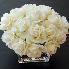 White Real Touch Rose Square Glass Arrangement - Flovery