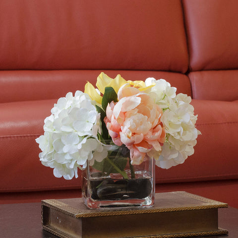 Hydrangea Orchid Silk Peonies Orchid Arrangement - Flovery