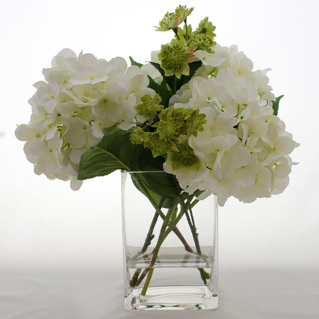 Silk White Hydrangea And Greenery Arrangement Flovery