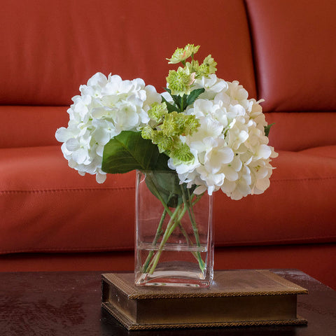 Silk White Hydrangea and Greenery Arrangement