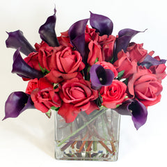 Large Real Touch Red Rose Square Arrangement