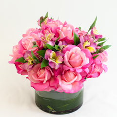 Real Touch Pink Rose Alstroemeria Arrangement