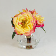 Real Touch Yellow Orlane Roses Red Tip Arrangement