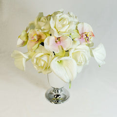Real Touch White Roses Orchid Calla Lilies Arrangement