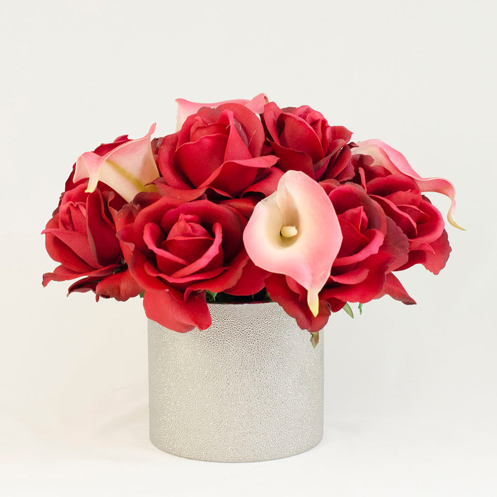 Real Touch Red Roses Pink Calla Lilies Arrangement