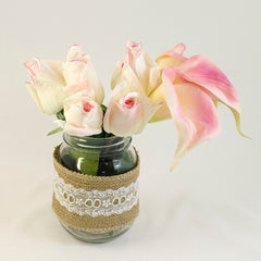 Real Touch Cream Light Pink Bud Roses Calla Lilies Arrangement