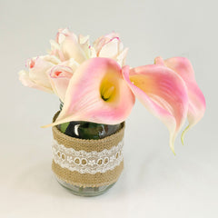Real Touch Cream Light Pink Bud Roses Calla Lilies Arrangement - Flovery