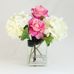 White Silk Hydrangea and Fuschia Pink Roses Arrangement