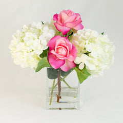 White Silk Hydrangea and Fuschia Pink Roses Arrangement - Flovery