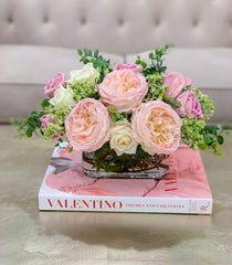 Exclusive Real Touch Pink English Roses Arrangement - Flovery