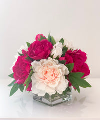 REAL TOUCH Magenta/Blush Peony Arrangement-Real Touch Flower Arrangement-Large Peony Centerpiece-Peony Arrangement-Faux Arrangement - Flovery