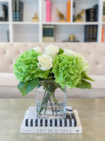 Real Touch Flower Arrangement-Real Touch Green Hydrangea Arrangement-Rose arrangement - Tall arrangement-Table Arrangement